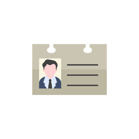 identity card: ID Card icon in flat color style. Identity office worker businessman