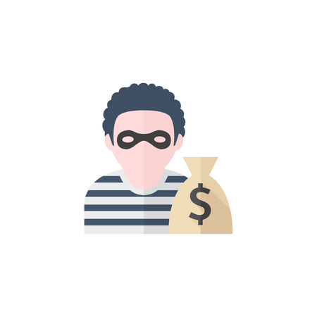 rob: Burglar icon in flat color style. People person thief steal money sack dollar sign