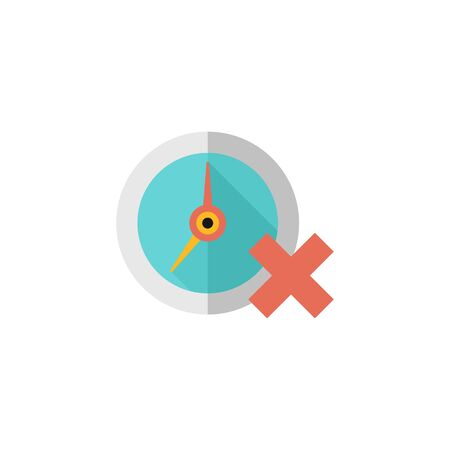 Clock with cross sign icon in flat color style. Waiting time, queue Illustration