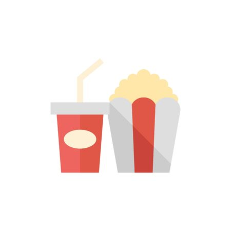 Soft drink icon in flat color style. Junk fast food high sugar Illustration