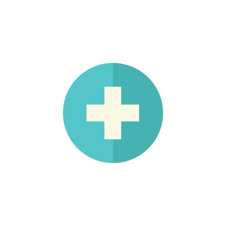 Plus sign icon in flat color style. Symbol add bookmark medical health care ambulance Illustration