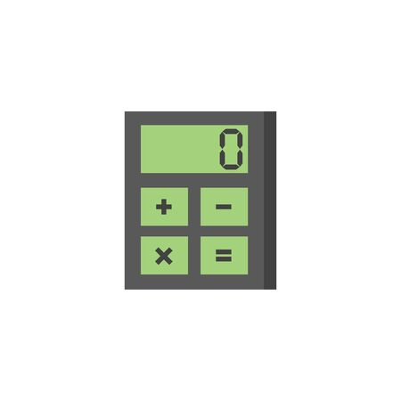 website buttons: Calculator icon in flat color style. Calculate electronic finance money