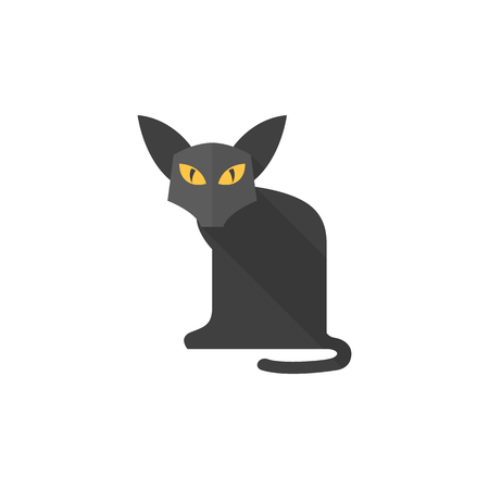 superstitious: Cat icon in flat color style. Animal Halloween symbol dark black kitten fear