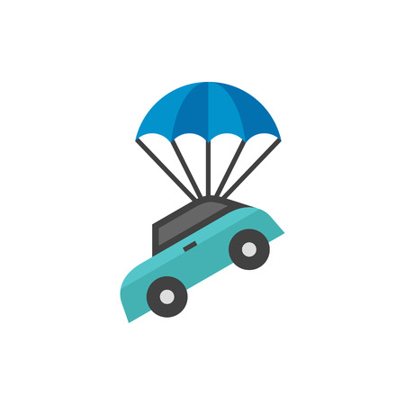 Car parachute icon in flat color style. Insurance protection investment transportation
