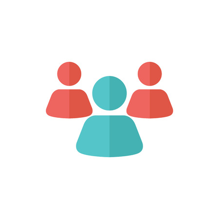 website buttons: Teamwork icon in flat color style. Business communication collaboration team office