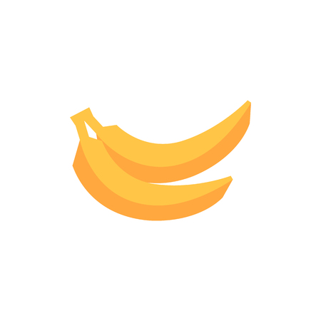 carbohydrate: Banana icon in flat color style. Food fruit yellow energy power vitamin carbohydrate