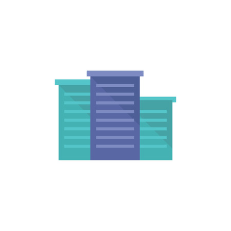 apartment: Hotel building icon in flat color style. Accommodations sleep night travel Illustration