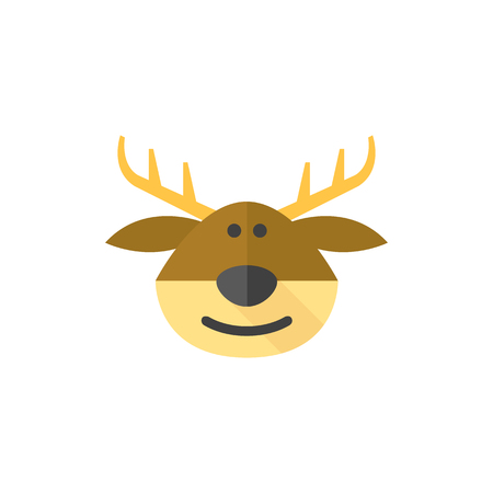 Rudolph the moose icon in flat color style. Christmas animal Santa ride