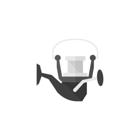 river: Fishing reel icon in flat color style. Water sport fish line trawling fisherman