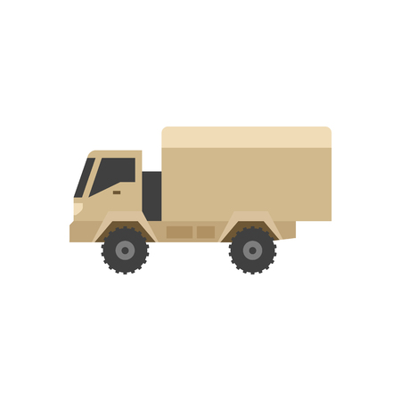 auto service: Military ambulance icon in flat color style. Vintage truck vehicle world war