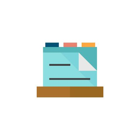 storage box: Medical records icon in flat color style. Cabinet files document patients information