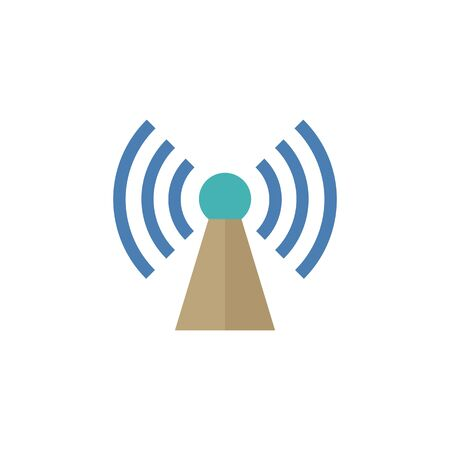 wireless signal: Podcast icon in flat color style. Broadcast