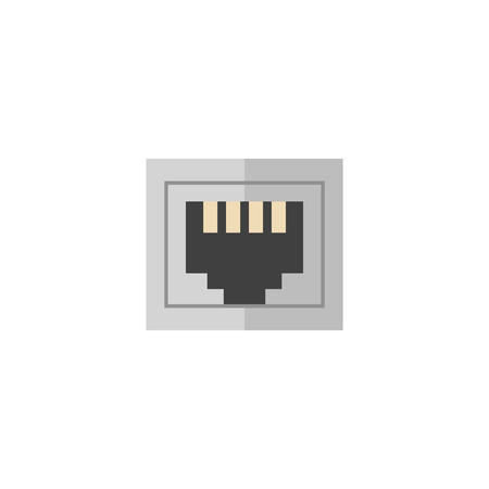 tcp ip: Local area connector icon in flat color style. Computer network internet connection broadband infrastructure Illustration
