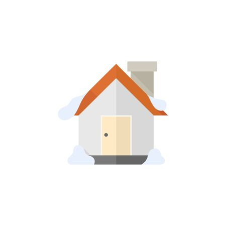 home icon: House with snow icon in flat color style. December Christmas
