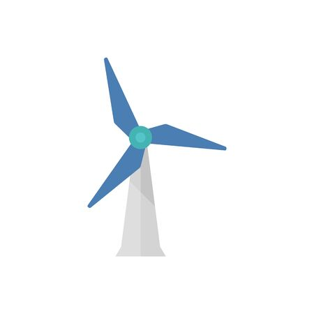 wind mills: Wind turbine icon in flat color style. Power generation energy renewable