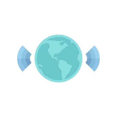 Wireless world icon in flat color style. Internet communication connection global Illustration