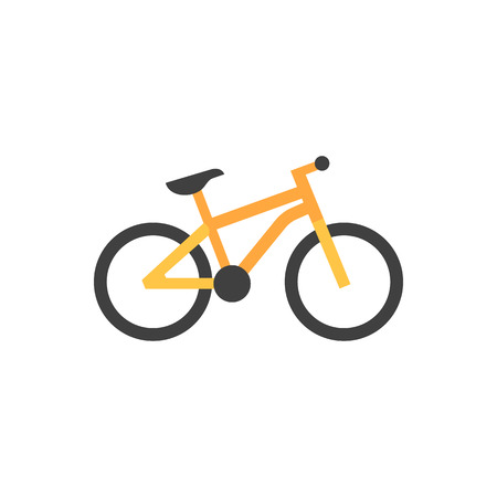 transportation silhouette: Mountain bike icon in flat color style. Sport transportation explore distance endurance bicycle