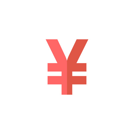 Japan Yen symbol icon in flat color style.