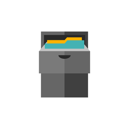 filling folder: Office cabinet icon in flat color style. Files document information