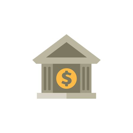 building: Bank building icon in flat color style.