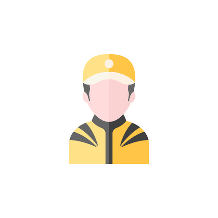 throttle: Racer avatar icon in flat color style. Sport transportation automotive car motorcycle