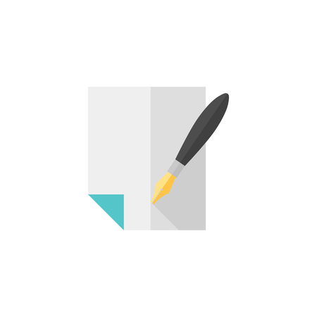 literature: Letter quill pen icon in flat color style. Retro vintage correspondence document