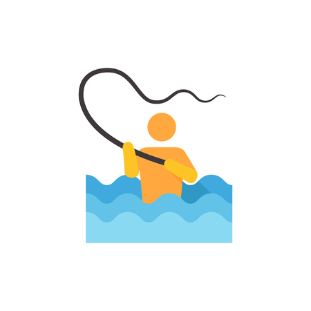 Fishing icon in flat color style. Sport leisure water sea ricer lake fly