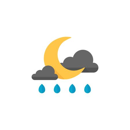 clouds: Weather overcast rainy icon in flat color style. Nature forecast night raining cloudy cold Illustration