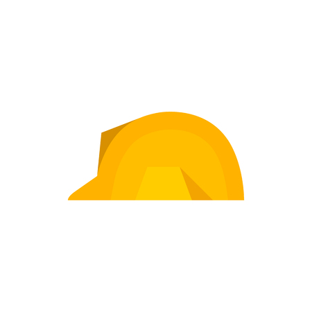 Hard hat icon in flat color style. Construction gear head protection builder worker