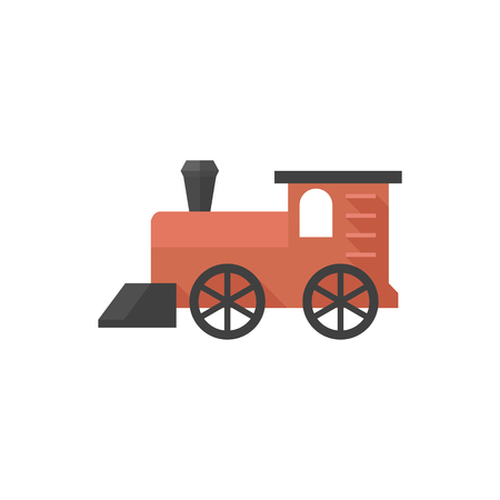 Locomotive toy icon in flat color style. Children games