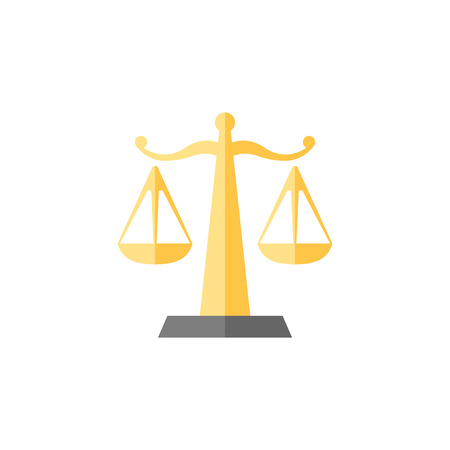 Justice scale icon in flat color style. Law litigation measurement balance Illustration