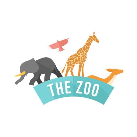 funny: Zoo gate icon in flat color style. Animal jungle park safari