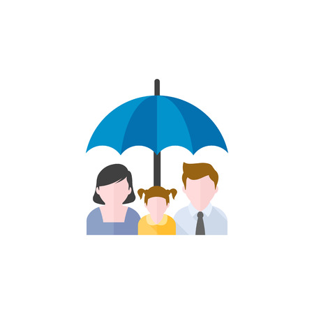 Family umbrella icon in flat color style. Insurance protection safety parents kids education Illustration