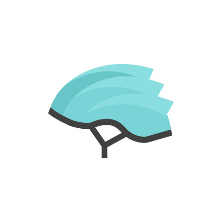 Bicycle helmet icon in flat color style. Sport cycling protection safety head Illustration