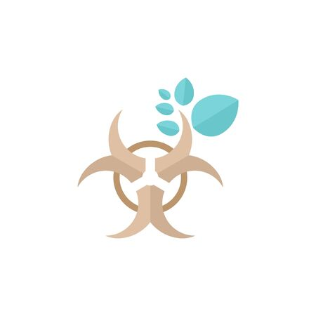 Biohazard leaves icon in flat color style. Science technology biology environment friendly