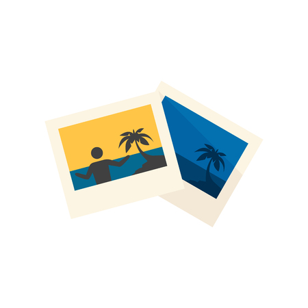 photo album: Photos icon in flat color style. Vacation holiday memory beach travel journey