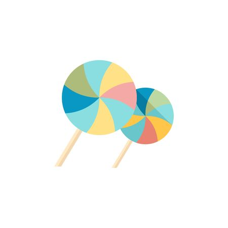 hard: Twist candy icon in flat color style. Food snack sweet sugar junk twisted wrapping Illustration