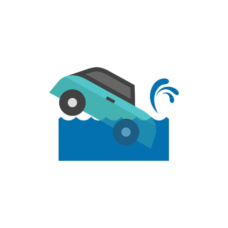 waves: Drowned car icon in flat color style. Automotive natural accident flood insurance claim