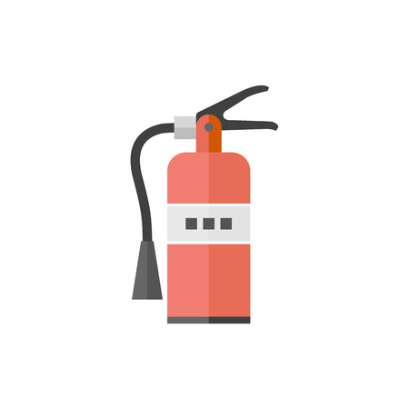 white work: Fire extinguisher icon in flat color style. Office equipment building Illustration