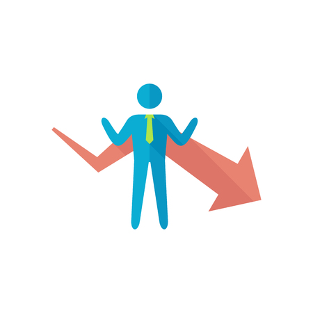 Businessman chart icon in flat color style. Business finance growth success info graphic