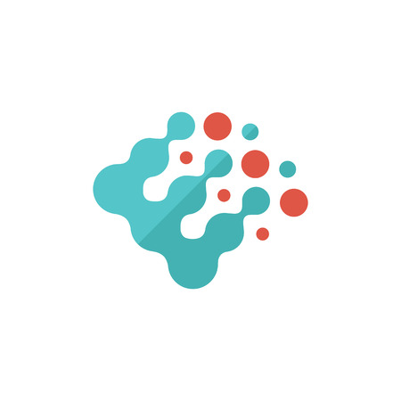 Printing raster dots icon in flat color style. Print color density concept