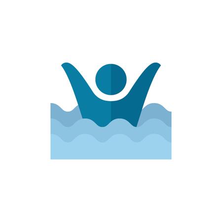 interdiction: L'icône de l'homme noyé dans un style de couleur plat. Les gens accidentellement l'eau mer plage de sauveteur