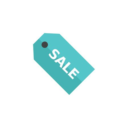 clothing store: Sale tag icon in flat color style. Label shopping buying discount rebate