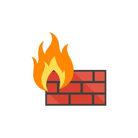 privacy: Firewall icon in flat color style. Computer network, internet protection, antivirus Illustration