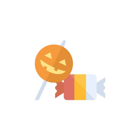 Twist candy icon in flat color style. Food snack sweet sugar junk striped Halloween