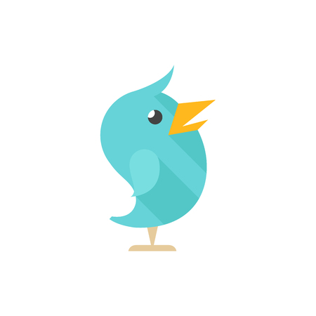 Bird icon in flat color style. Tweet social media networking promotion chirps