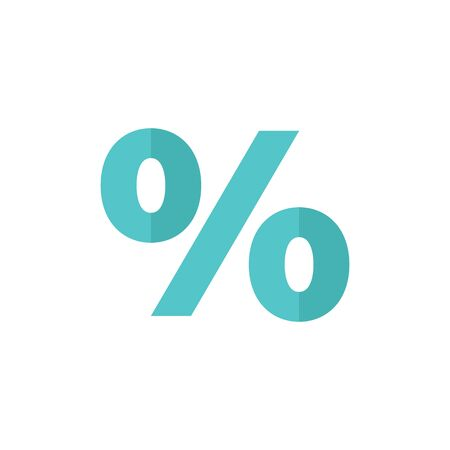 Percent symbol icon in flat color style. Math mathematics number student money