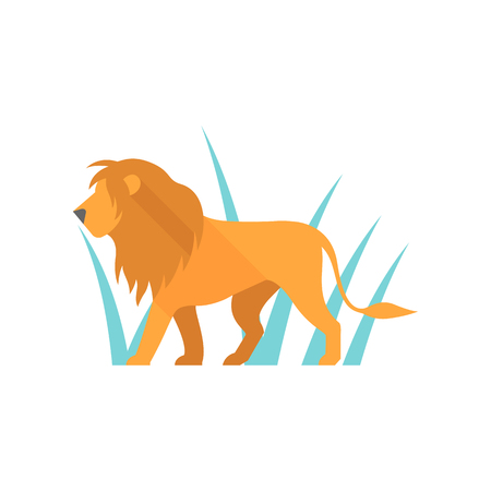 huge: Lion icon in flat color style. Silhouette logo mammal carnivore jungle zoo safari