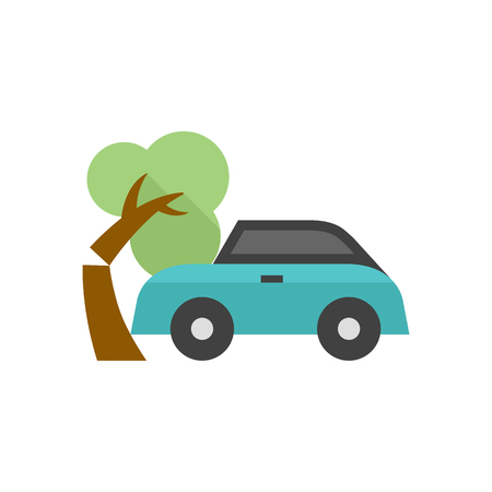 Car crash icon in flat color style. Automotive accident incident insurance claim