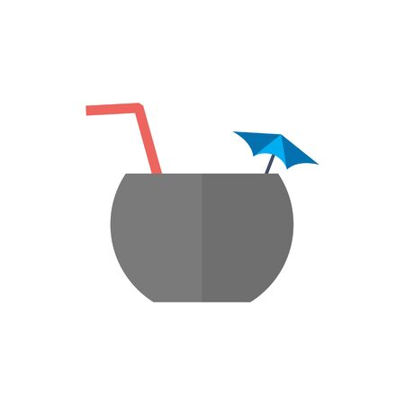 plate: Coconut drink icon in flat color style. Tropical Asian.
